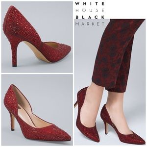 WHBM Ruby Red Embellished Heels